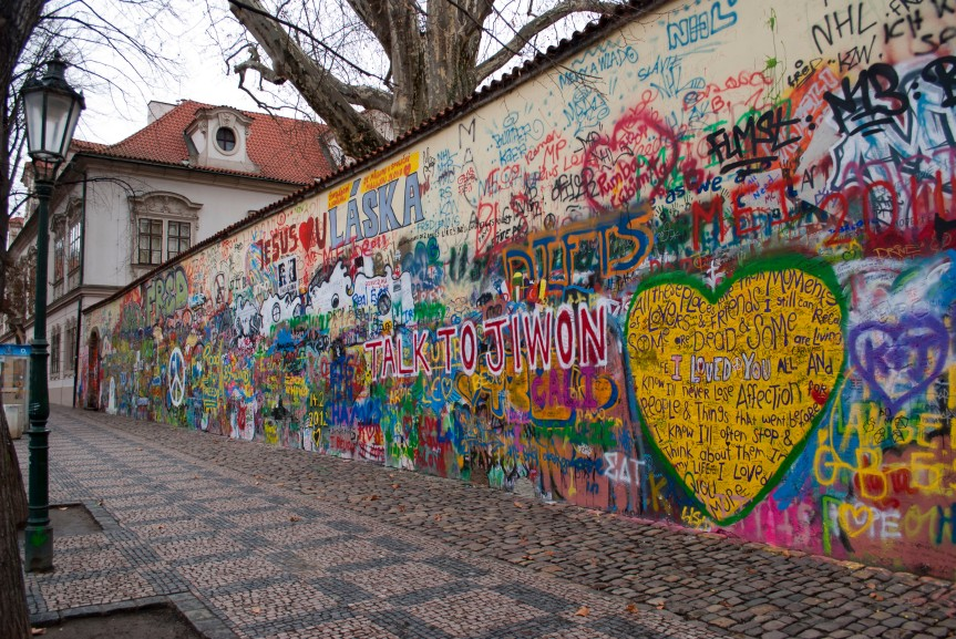 John Lennon Wall, Prague: First Soviet officials, and later Knights of Malta, painted over the wall. It would reappear within days.