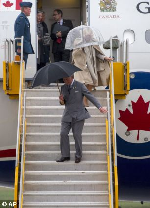 On arrival in Canada, Charles asked Camilla to turn her swan upside down.