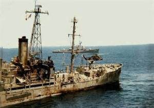USS Liberty limps home after attack by Israelis, 1967