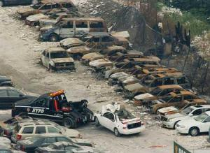 Cars parked blocks away from the World Trade Center on 9/11 - notice all the unburned paper.