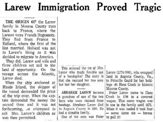 Larew Immigration Proved Tragic