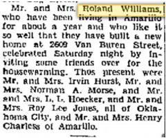 Roland Williams Announcement