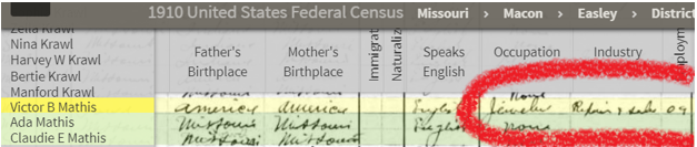 Victor Mathis in 1920 Census